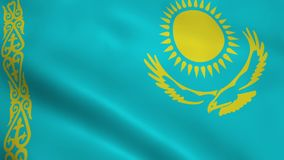 Realistic Kazakhstan flag. Waving in the wind. Seamless looping stock video