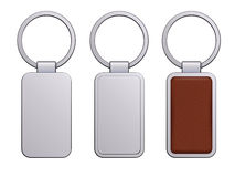 Realistic keychain pendant template vector illustration