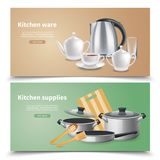 Realistic Kitchen Supplies Banners Stock Image