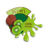 Realistic kiwi. Berry label with juice splash. Vector illustration  on white background. 100% natural organic fruit Royalty Free Stock Photo