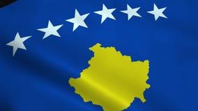 Realistic Kosovo flag stock footage