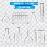 Realistic Laboratory Glassware Collection. With test-tubes on plastic stand, beakers  on transparent background vector illustration Stock Photography