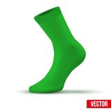Realistic layout of green sock. A simple example. Stock Photos