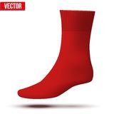 Realistic layout of red sock. A simple example. Stock Image