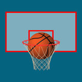 Realistic leather playing ball in basketball hoop on backboard. Ball in basketball hoop on backboard. Realistic leather playing object in basket. Vector Royalty Free Stock Photos