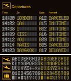 Realistic LED digital board airport template. Vector 3D yellow LED digital font with alphabet and numbers on dark background eps stock photos