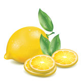 Realistic lemon with slices of lemon Royalty Free Stock Photos