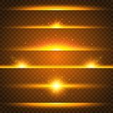 Realistic lens flare set. Collection of gold light effects on transparent background. Flash with rays and spotlight. Glowing lights, stars and sparkles. Vector stock illustration