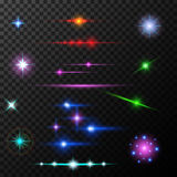 Realistic lens flares beams and flashes on. Realistic lens flares star lights and glow white elements on transparent background vector illustration Stock Photos