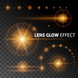 Realistic lens flares and rays flash white orange light on a dark background. Set the template for web design.  illustration. S Stock Image