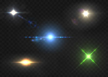 Realistic lens flares star lights and glow color elements. On transparent background vector illustration Stock Photos