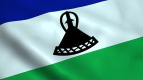 Realistic Lesotho flag. Waving in the wind stock photo