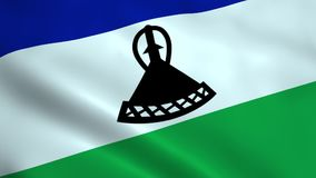 Realistic Lesotho flag. Waving in the wind. Seamless looping stock footage