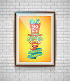 Realistic lettering retro poster in a wooden picture frame Stock Image