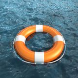 Realistic lifebuoy on water. Isolated on white Stock Photography