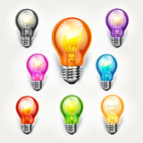 Realistic light bulb color set. Royalty Free Stock Image