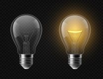 Realistic light bulb. Turned off and glowing isolated lamps. Creative idea and innovation lightbulb vector 3d business