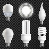 Realistic Light Bulbs Set Stock Images