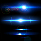Realistic light glare sparkle, highlight set. Collection of beautiful bright lens flares. Lighting effects of flash. Stock Photography