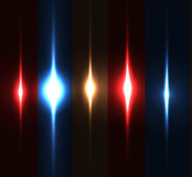 Realistic light glare sparkle, highlight set. Collection of beautiful bright lens flares. Royalty Free Stock Photos