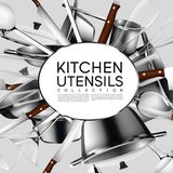 Realistic Light Kitchen Utensil Poster Royalty Free Stock Images