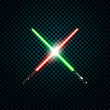 Realistic light swords. crossed lightsabers, flash and sparkles. Vector illustration  on transparent background.  Stock Photography