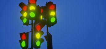 Realistic Lighted Traffic Lights. 3D Rendering Of Realistic Lighted Traffic Lights Royalty Free Stock Photography