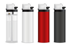 Realistic Lighters Set. Set of realistic pocket plastic colorful gas or gasoline lighters isolated on white background 3d vector illustration Royalty Free Stock Images