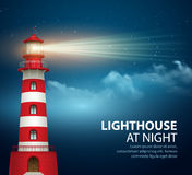 Realistic lighthouse  in the night sky background. Vector illustration Stock Image