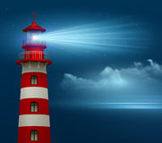 Realistic lighthouse  in the night sky background. Vector illustration Stock Images