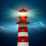 Realistic lighthouse  in the night sky background. Vector illustration Royalty Free Stock Photography