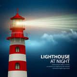 Realistic lighthouse  in the night sky background. Vector illustration Royalty Free Stock Images
