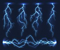 Realistic lightnings. Electricity thunder light storm flash thunderstorm in cloud. Nature power energy charge, thunder