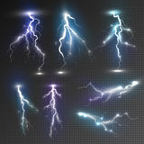 Realistic lightnings set Royalty Free Stock Images