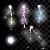 Realistic lightnings on transparent background. Stock Photography
