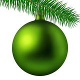 Realistic lime matte Christmas ball or bauble with fir branch isolated on white background. Vector illustration. Vector realistic illustration lime matte Royalty Free Stock Photography
