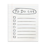 Realistic line paper note. To do list icon with hand drawn text. Royalty Free Stock Photography