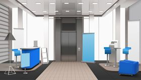 Realistic Lobby Interior Blue Elements Royalty Free Stock Images