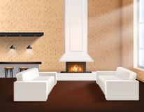 Realistic Loft Interior. In minimalistic style concept with two sofas cupboards and fireplace vector illustration Stock Photo