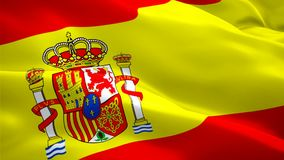 Realistic looping Spain waving flag. National 3d Spanish flag waving. Sign of Spain seamless loop animation. Spanish flag HD resol stock illustration
