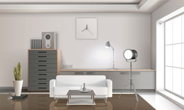 Realistic Lounge Interior 3D Design. With white sofa, drawers with loudspeaker, floodlight, clock on wall vector illustration Royalty Free Stock Photos