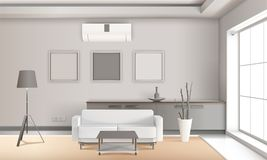 Realistic Lounge Interior In Light Tones. With furniture, floor lamp, french window, decorative plant 3d vector illustration Royalty Free Stock Photos