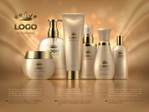 Realistic luxury cosmetic background. Skin care product golden makeup cream woman face care glossy ad. Cosmetic bottle template vector illustration