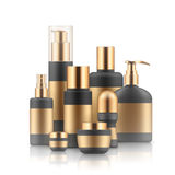 Realistic luxury gamorous set of cosmetic bottles, mockup, 3D. Realistic luxury gamorous set of cosmetic bottles in silver and black isolated on white background Royalty Free Stock Photo