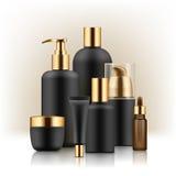 Realistic luxury premium brand set of cosmetic bottles, mockup, 3D. Realistic luxury gamorous set of cosmetic bottles in gold and black isolated on white Royalty Free Stock Images