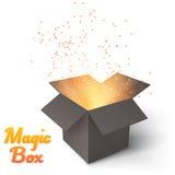 Realistic Magic Open Box. Magic Box with Confetti and Magic Ligh Stock Image