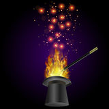 Realistic Magic Wand with Fire Flame. And Starry Lights on Dark Background Stock Image