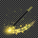 Realistic Magic Wand with Yellow Starry Lights. Realistic Magic Wand with Starry Lights on Checkered Background Royalty Free Stock Image