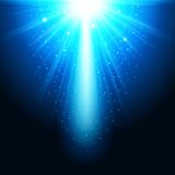 Realistic magical glow blue on a dark background. Small shiny lights. Successful design template. Abstract  illustration Royalty Free Stock Image