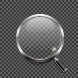 Realistic magnifying glass icon on transparent background Stock Photography